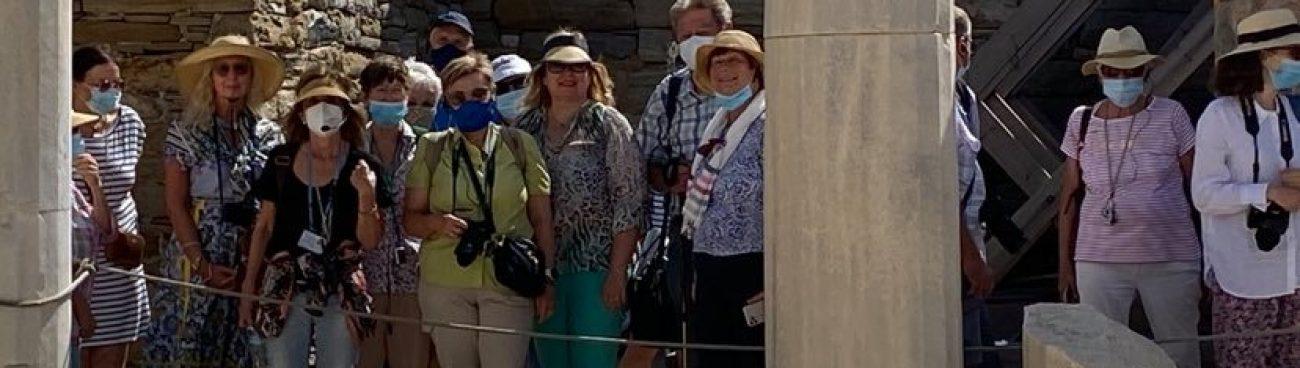 Giving a tour in Delos